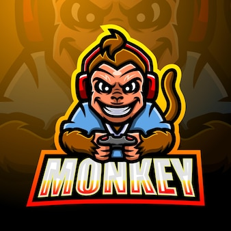 Design do logotipo do macaco mascote esport