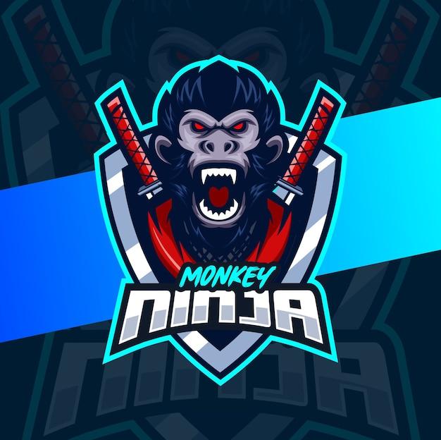 Design do logotipo do macaco samurai ninja mascote esport