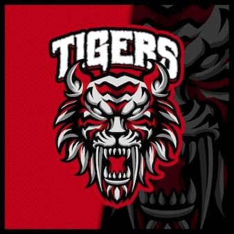 Design do logotipo do mad tigers esport e do mascote do esporte com um conceito de ilustração moderno para o emblema do time