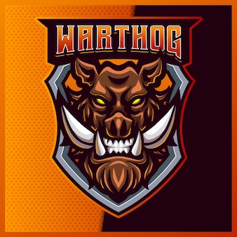 Design do logotipo do mad warthog esport e do mascote do esporte com ilustração moderna. ilustração de porco irritado