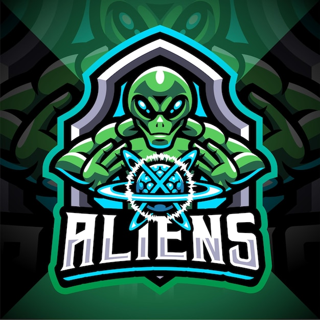 Design do logotipo do mascote alien esport
