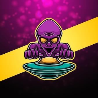 Design do logotipo do mascote alien esport