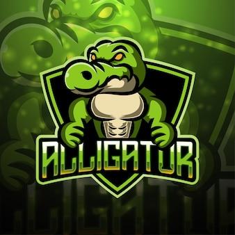 Design do logotipo do mascote alligator esport