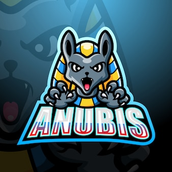 Design do logotipo do mascote anubis esport