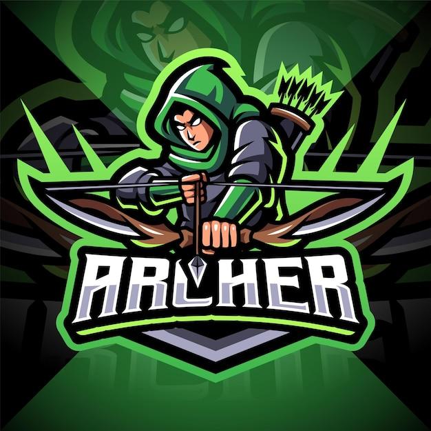Design do logotipo do mascote archer esport