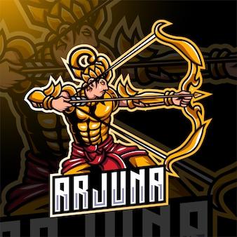 Design do logotipo do mascote arjuna arqueiro esport