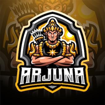 Design do logotipo do mascote arjuna esport