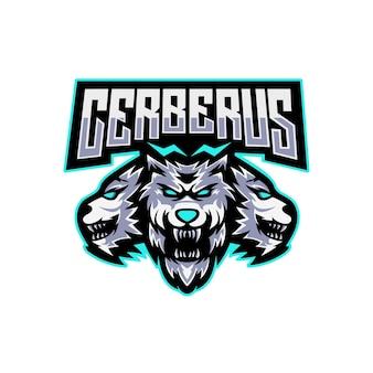 Design do logotipo do mascote cerberus de três cabeças