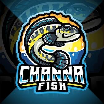 Design do logotipo do mascote channa fish esport