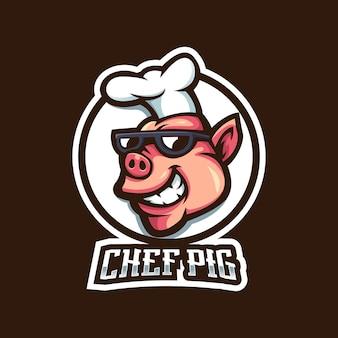 Design do logotipo do mascote chef pig