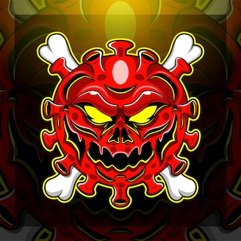 Design do logotipo do mascote corona virus esport