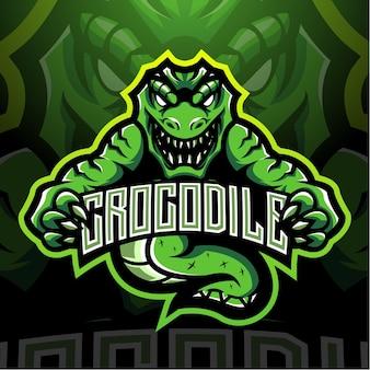 Design do logotipo do mascote crocodile esport