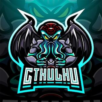 Design do logotipo do mascote cthulhu esport