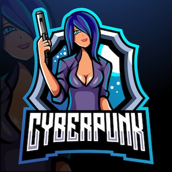 Design do logotipo do mascote cyberpunk