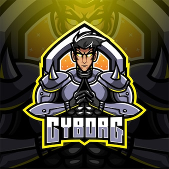 Design do logotipo do mascote cyborg esport