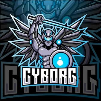 Design do logotipo do mascote cyborg esport