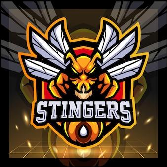 Design do logotipo do mascote da abelha stinger