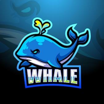 Design do logotipo do mascote da baleia