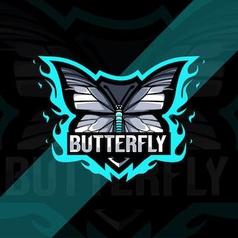 Design do logotipo do mascote da borboleta