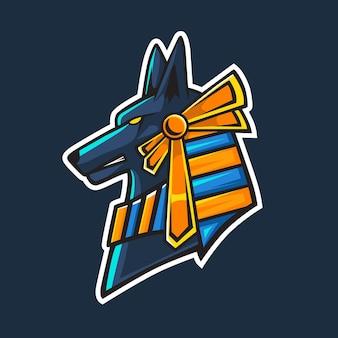 Design do logotipo do mascote da cabeça de anubis