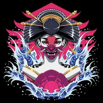 Design do logotipo do mascote da cabeça de gueixa