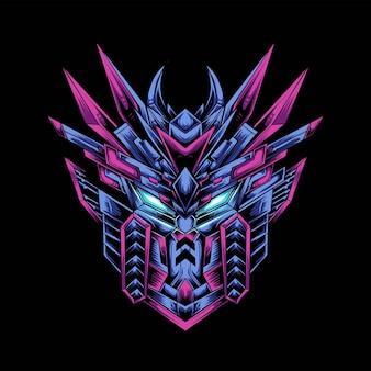 Design do logotipo do mascote da cabeça de gundam com ilustração moderna