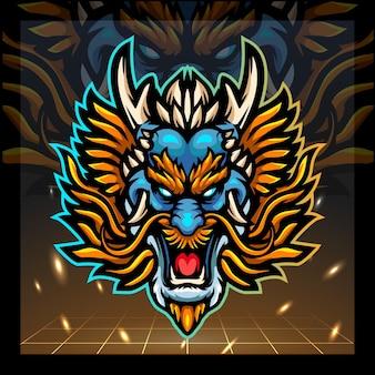 Design do logotipo do mascote da cabeça do dragão