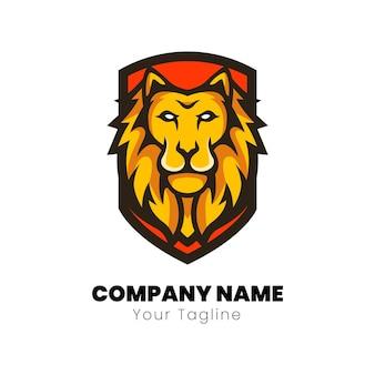 Design do logotipo do mascote da cabeça do leão
