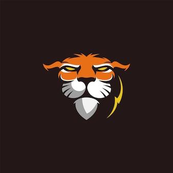 Design do logotipo do mascote da cabeça do tigre