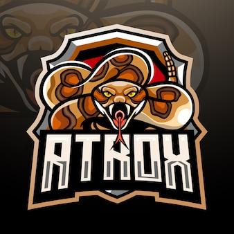 Design do logotipo do mascote da cobra de crotalus atrox esport