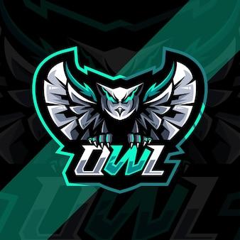 Design do logotipo do mascote da coruja voadora