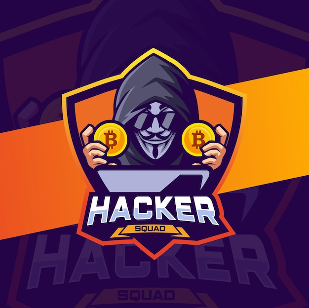 Design do logotipo do mascote da criptomoeda do hacker para e-sport e logotipo da equipe