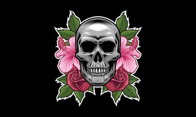 Design do logotipo do mascote da flor do crânio