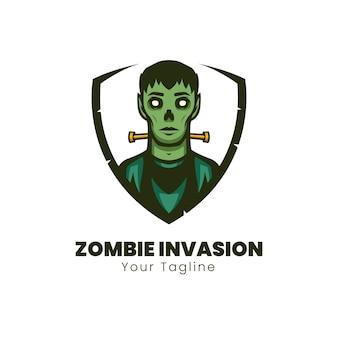 Design do logotipo do mascote da invasão de zumbis