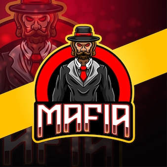 Design do logotipo do mascote da máfia esport