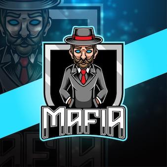 Design do logotipo do mascote da máfia esport