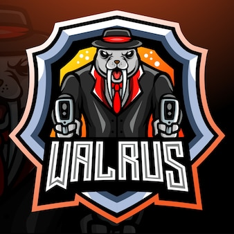 Design do logotipo do mascote da máfia walrus
