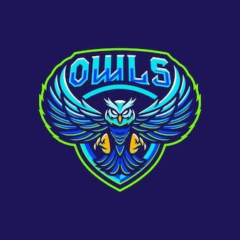 Design do logotipo do mascote das corujas Vetor Premium