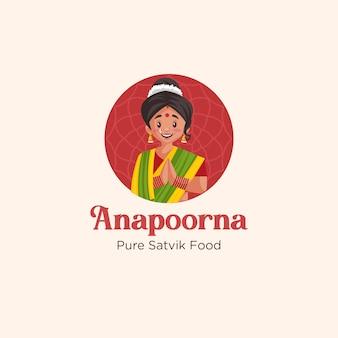 Design do logotipo do mascote de comida satvik puro de anapoorna