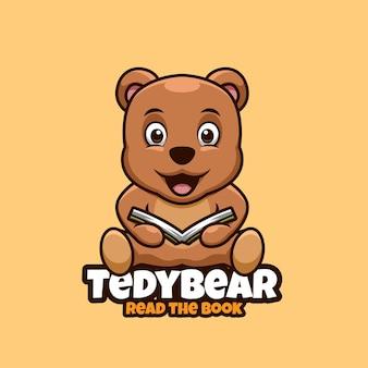 Design do logotipo do mascote de criativos para urso ler o livro