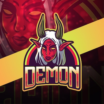 Design do logotipo do mascote demon esport