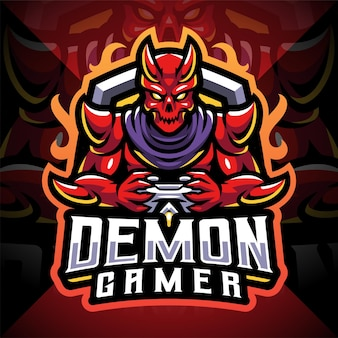 Design do logotipo do mascote demon gamer esport