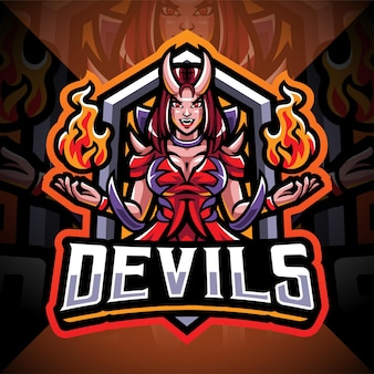 Design do logotipo do mascote devils girl esport