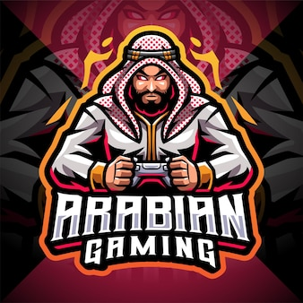 Design do logotipo do mascote do arabian gaming