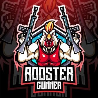 Design do logotipo do mascote do artilheiro de galo