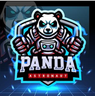 Design do logotipo do mascote do astronauta da panda