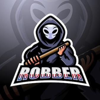 Design do logotipo do mascote do atirador ladrão e esport
