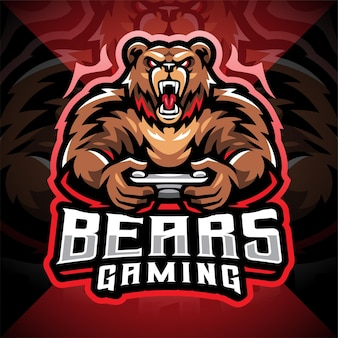 Design do logotipo do mascote do bears gaming