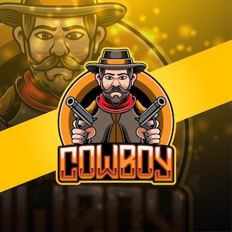 Design do logotipo do mascote do cowboy esport