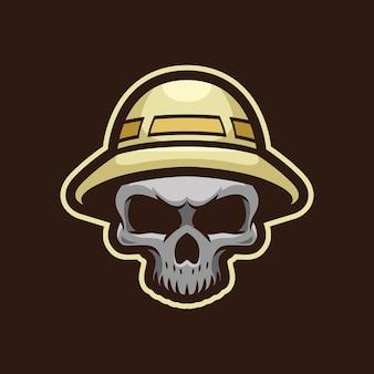 Design do logotipo do mascote do crânio caçador